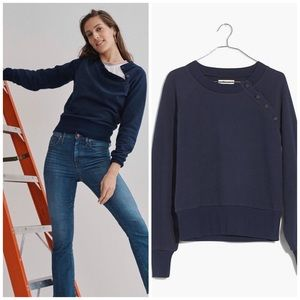 Madewell mile(s) Navy Button-detail Sweatshirt NWT